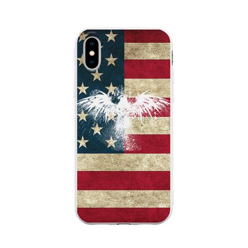 Чехол для iPhone X матовый Флаг США с белым орлом