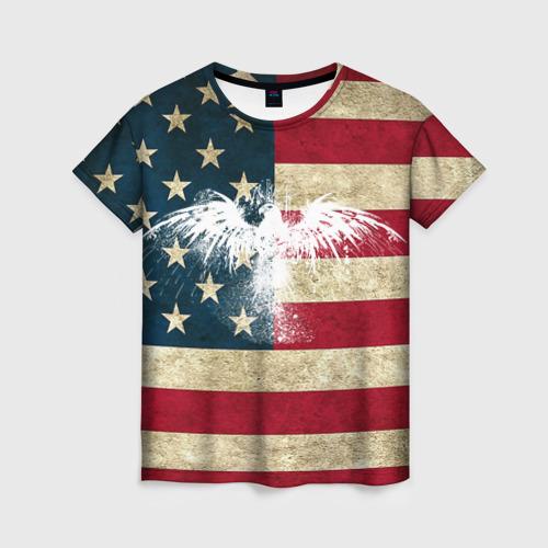 Женская футболка 3D Флаг США с белым орлом