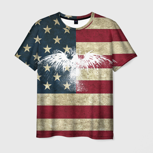 Мужская футболка 3D Флаг США с белым орлом