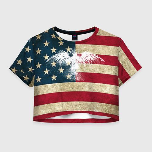 Женская футболка Crop-top 3D Флаг США с белым орлом