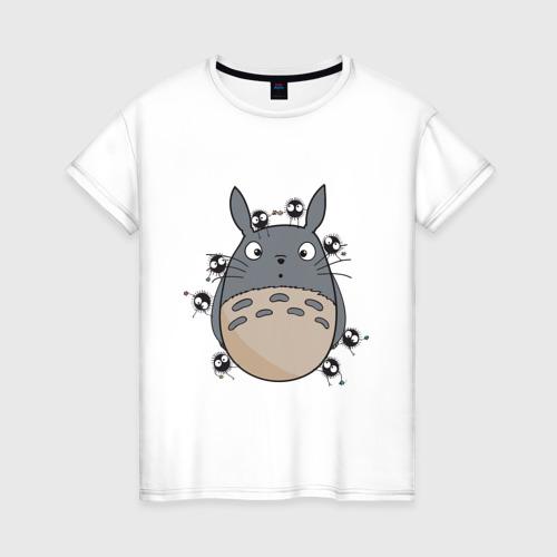 Женская футболка хлопок Удивленный Тоторо