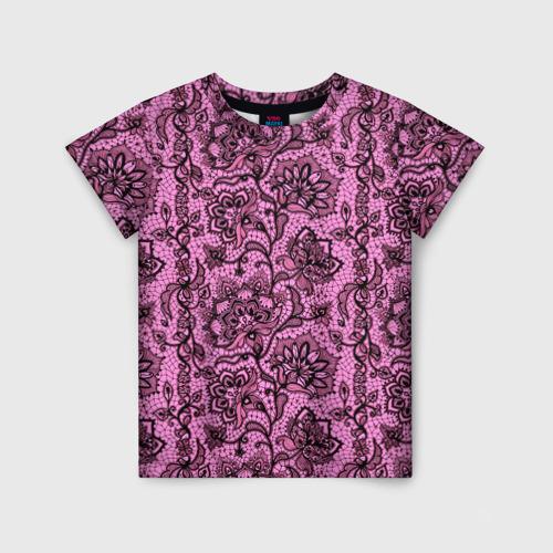 Детская футболка 3D Розовое кружево
