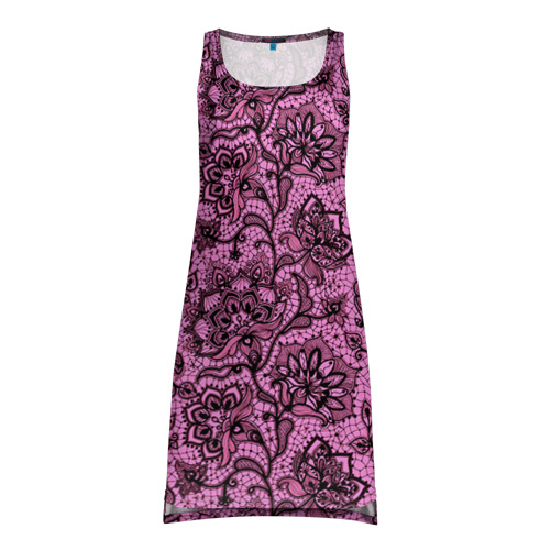 Платье-майка 3D Розовое кружево