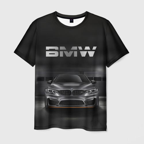 Мужская футболка 3D BMW серебро
