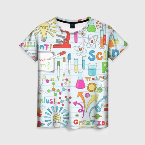 Женская футболка 3D Стикеры Наука