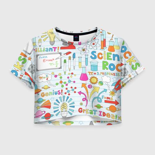Женская футболка Crop-top 3D Стикеры Наука