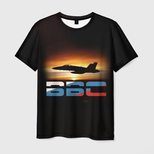 Мужская футболка 3D Истребитель ВВС на закате