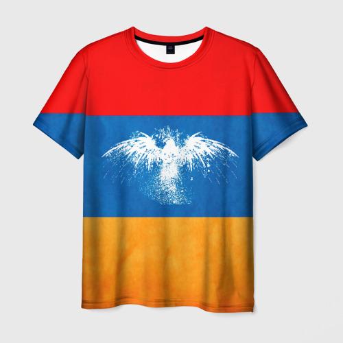 Мужская футболка 3D Флаг Армении с белым орлом