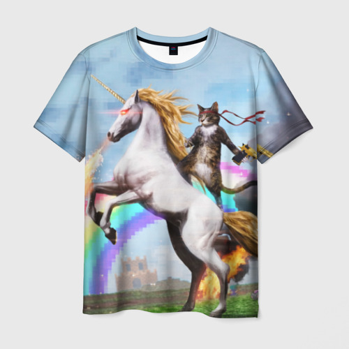 Мужская футболка 3D Кот на Единороге