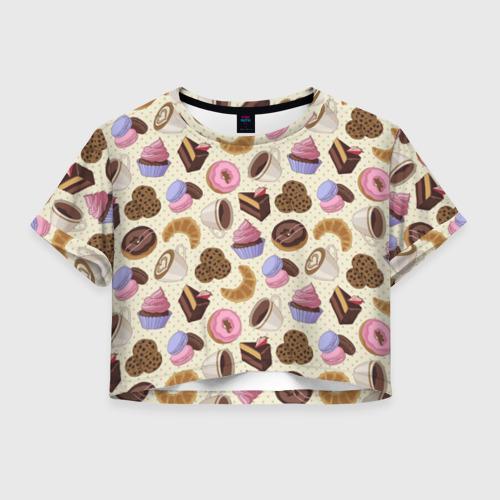Женская футболка Crop-top 3D Радости и сладости 2