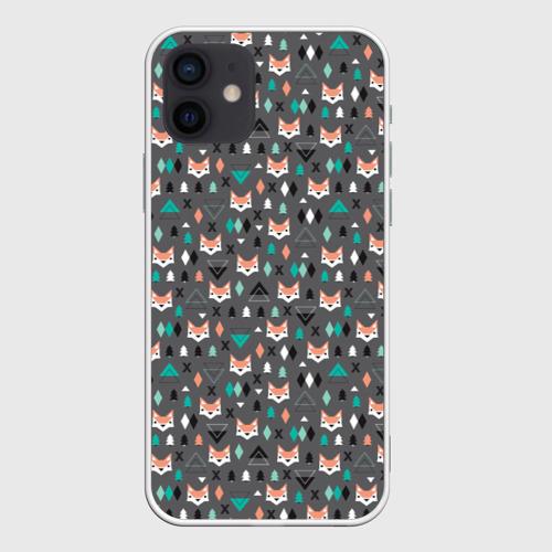 Чехол для iPhone 12 Mini Лисы и геометрия
