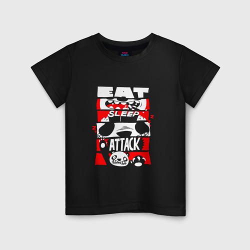 Детская футболка хлопок Ешь, спи, атакуй