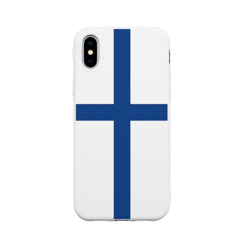 Чехол для iPhone X матовый Флаг Финляндии