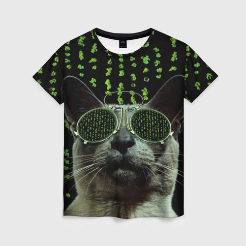 Женская футболка 3D Кот в матрице