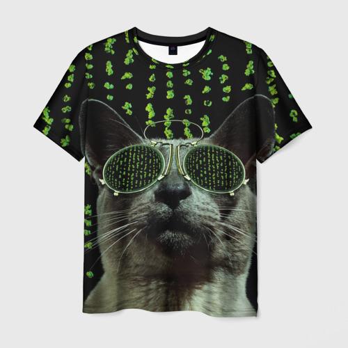 Мужская футболка 3D Кот в матрице