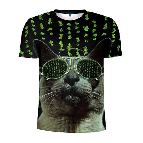 Мужская футболка 3D спортивная Кот в матрице
