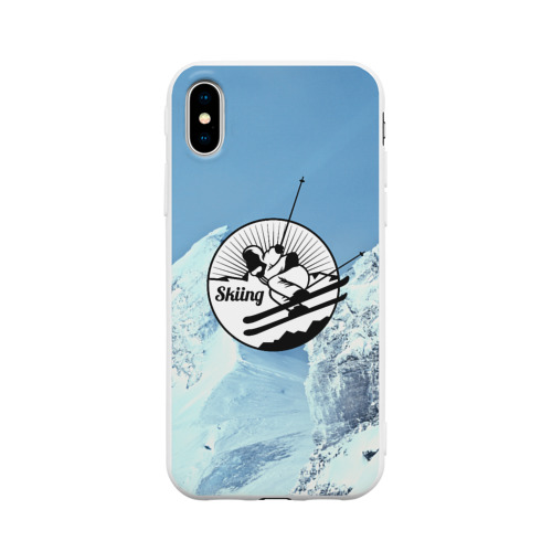 Чехол для iPhone X матовый Лыжный спорт