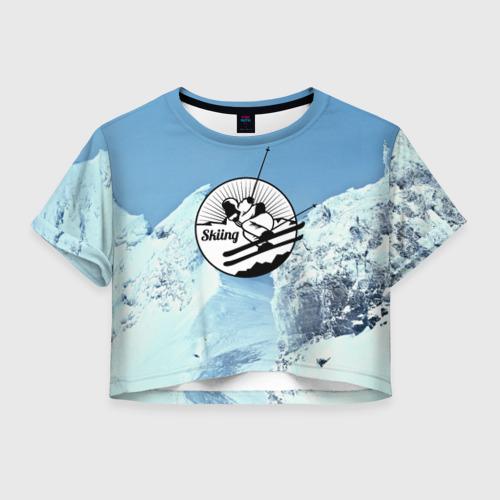 Женская футболка Crop-top 3D Лыжный спорт