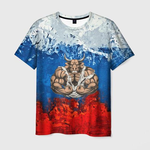 Мужская футболка 3D Бык триколор
