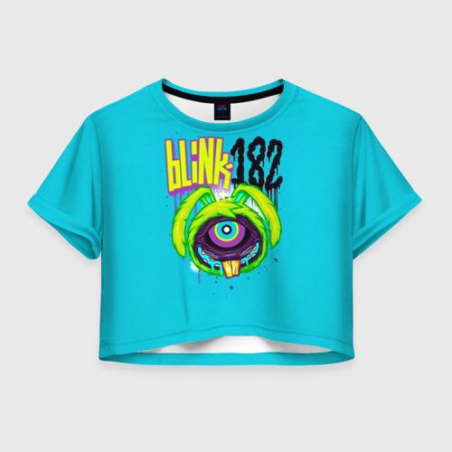 Женская футболка Crop-top 3D Заяц монстр Blink-182
