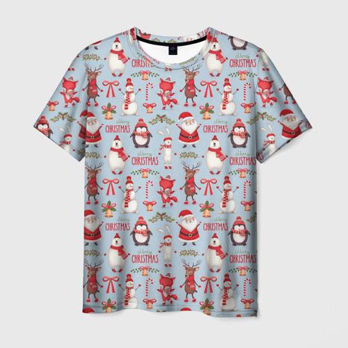 Мужская футболка 3D Рождественская Милота