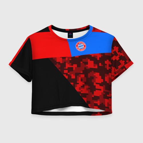 Женская футболка Crop-top 3D ФК Бавария 2018 Спорт