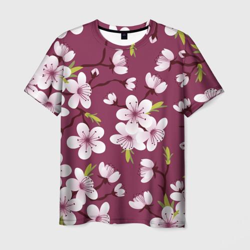 Мужская футболка 3D Сакура