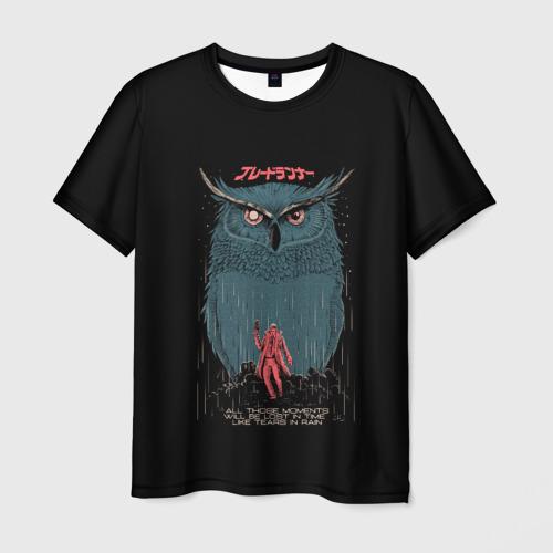 Мужская футболка 3D Филин Бегущий по лезвию