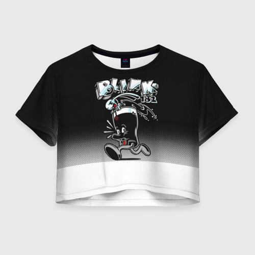 Женская футболка Crop-top 3D Заяц в стакане Blink-182