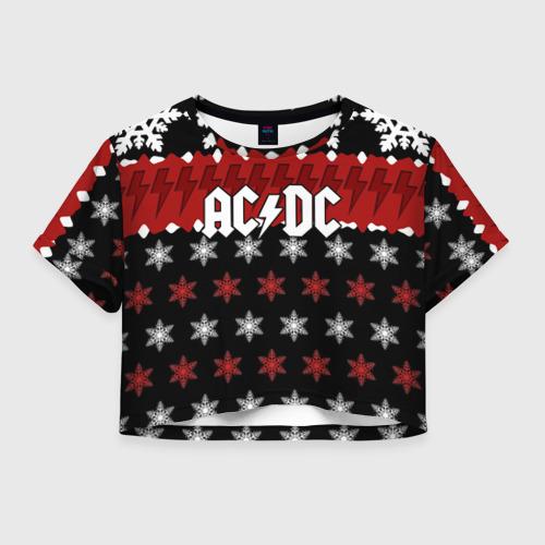 Женская футболка Crop-top 3D Праздничный AC/DC