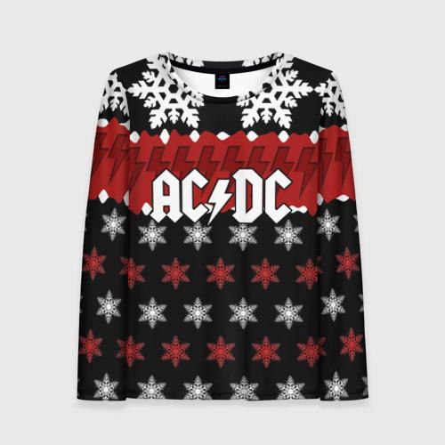Женский лонгслив 3D Праздничный AC/DC