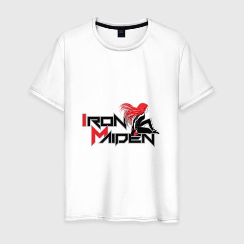 Мужская футболка хлопок Iron Maiden, рыжая девушка