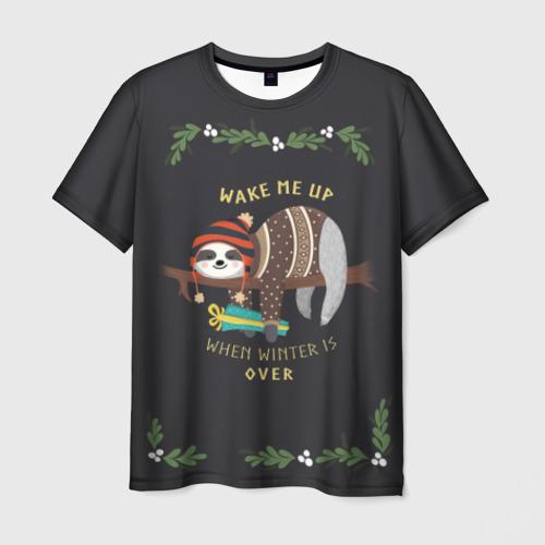 Мужская футболка 3D Ленивец