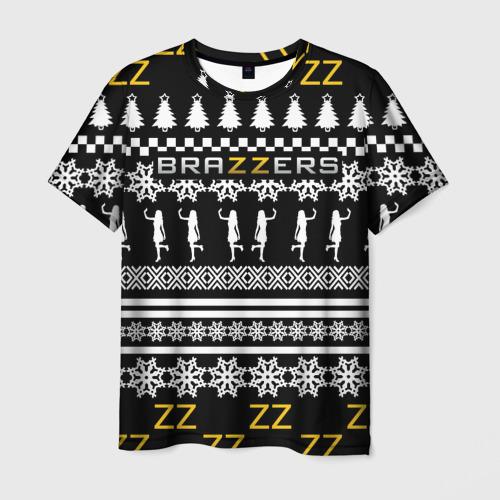 Мужская футболка 3D BRAZZERS НОВОГОДНИЙ | БРАЗЗЕРС