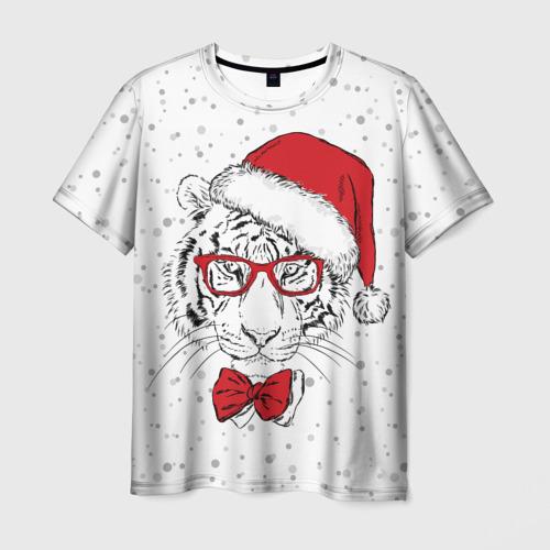 Мужская футболка 3D Тигр Санта Клаус