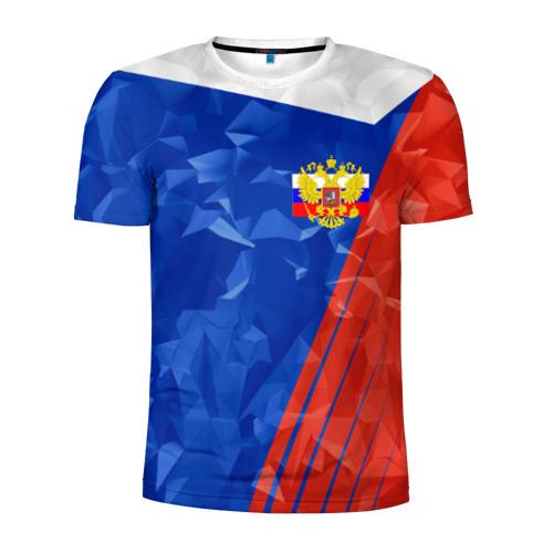 Мужская футболка 3D спортивная RUSSIA - Tricolor Collection
