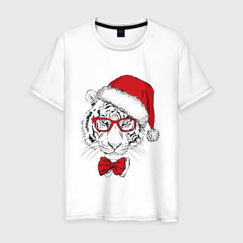 Мужская футболка хлопок Тигр Санта Клаус