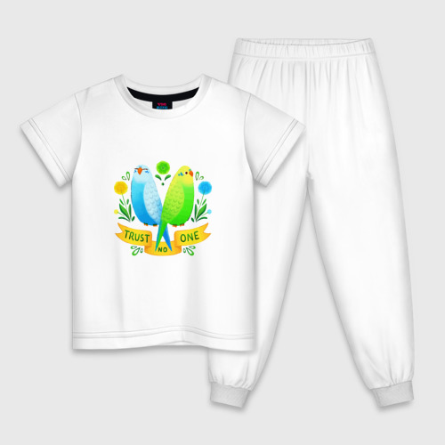 Детская пижама хлопок Попугаи арт