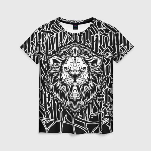 Женская футболка 3D Лев  Современная Каллиграфия