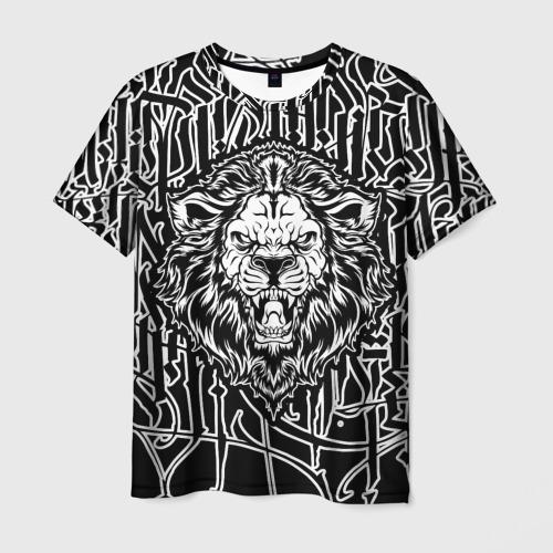 Мужская футболка 3D Лев  Современная Каллиграфия