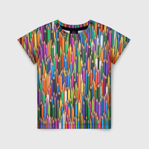 Детская футболка 3D Разноцветные карандаши