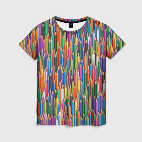 Женская футболка 3D Разноцветные карандаши