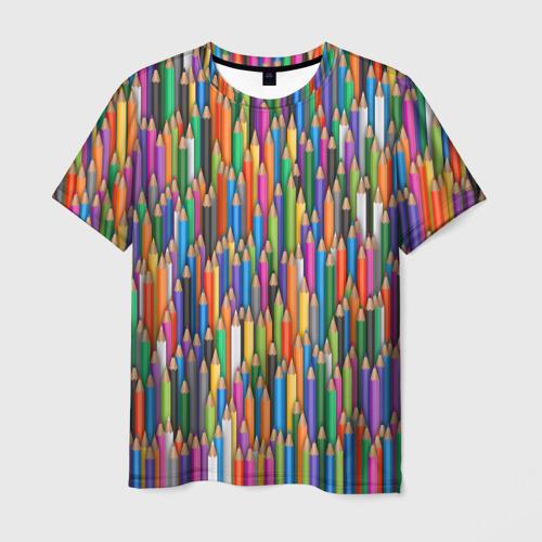 Мужская футболка 3D Разноцветные карандаши