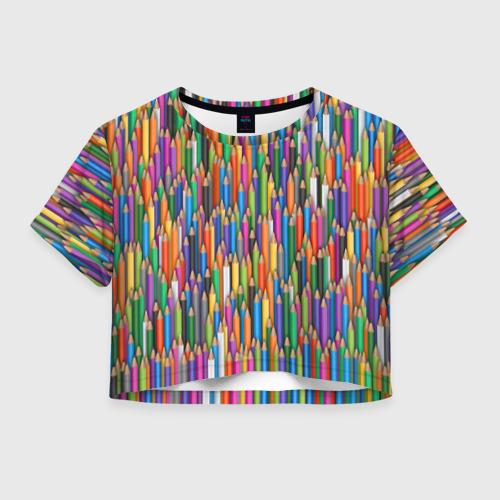 Женская футболка Crop-top 3D Разноцветные карандаши