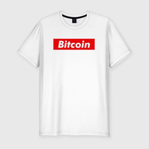 Мужская футболка хлопок Slim Bitcoin