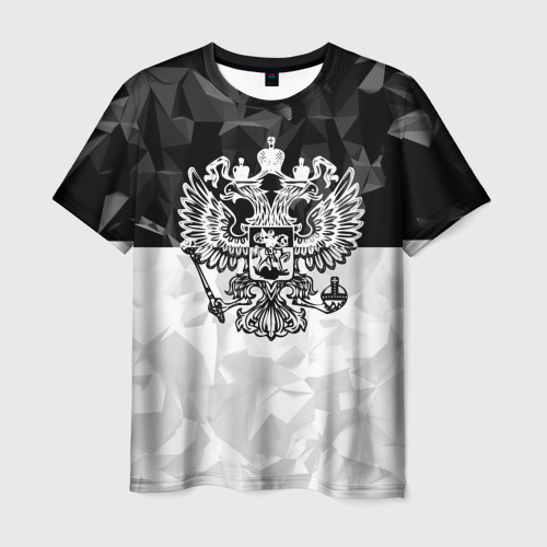 Мужская футболка 3D RUSSIA BLACK X WHITE | РОССИЯ