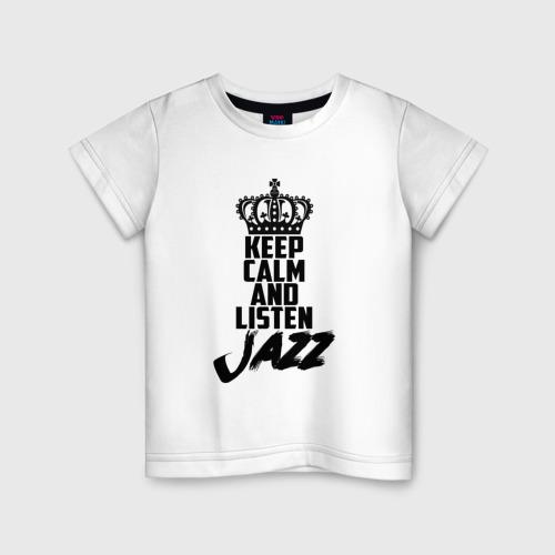 Детская футболка хлопок Keep calm and listen Jazz