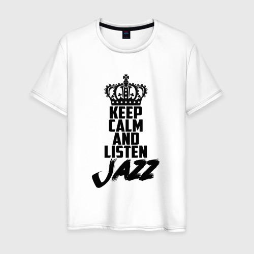 Мужская футболка хлопок Keep calm and listen Jazz