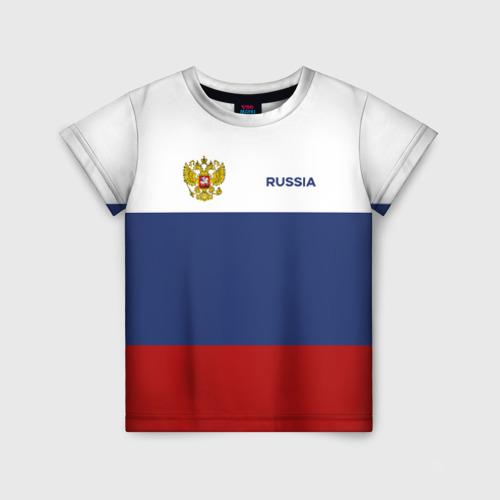 Детская футболка 3D Россия Триколор