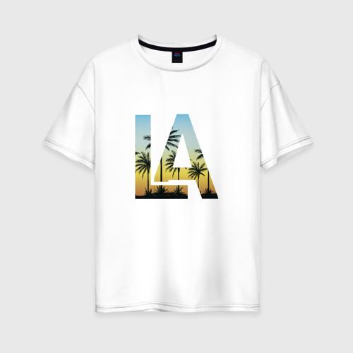 Женская футболка хлопок Oversize Лос Анджелес